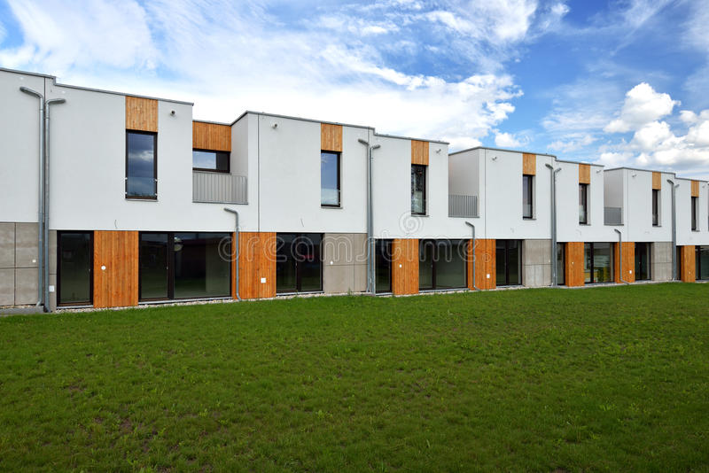 Just built modern family row houses stock images
