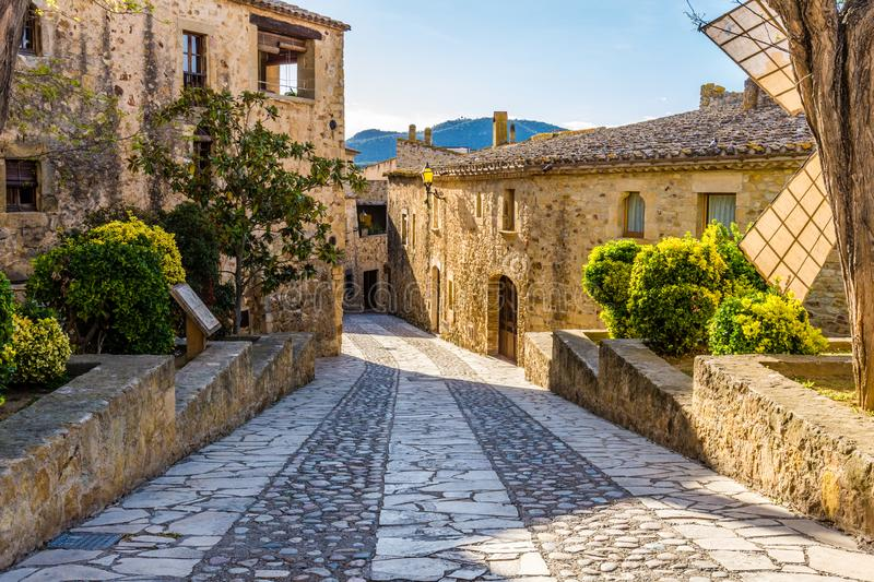 Visiting the picturesque village of Pals Catalonia, Spain stock image