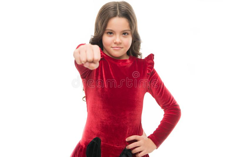 Just a girl boss building her empire. little girl child hold fist isolated on white. childrens day. childhood happiness. Beauty and fashion. small pretty girl stock images
