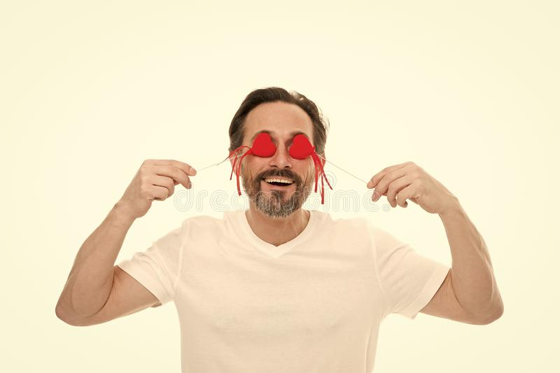 Just happy. Mature bearded man with red heart. Love. problems with heart. Man with beard. Decorative for valentines day royalty free stock photos