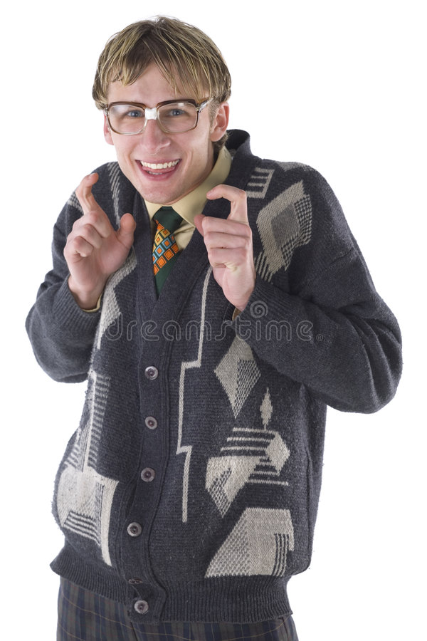 Just a little bit. Happy nerd with funny glasses. Measuring something in air. Smiling and looking at camera. Front view, white background royalty free stock image