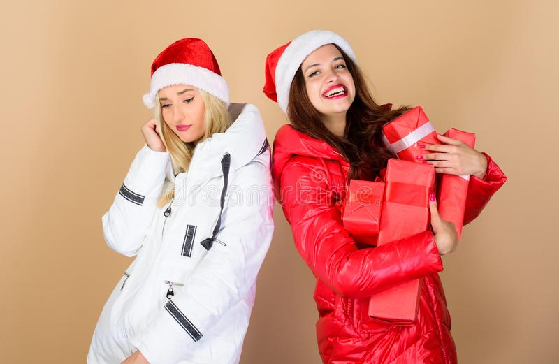Just look at that. christmas fashion. fun and gifts. friendship and sisterhood. happy new year. xmas present box. winter. Holidays. family vacation. women in royalty free stock photography