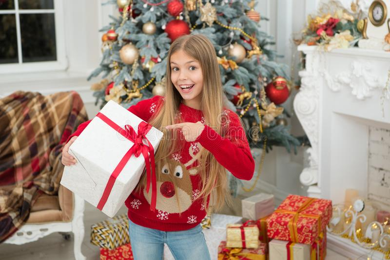 Just look at that. The morning before Xmas. Little girl. Happy new year. Winter. xmas online shopping. Family holiday. Christmas tree and presents. Child enjoy stock photos