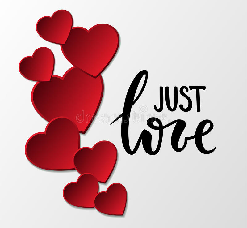 Just love Hand drawn calligraphy and brush pen lettering with frame border of red hearts. stock illustration