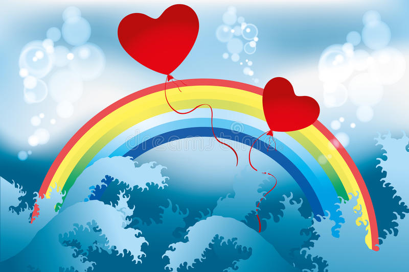 Just love. Rainbow, waves and bubbles with hearts illustration - available as jpg and eps-file stock illustration