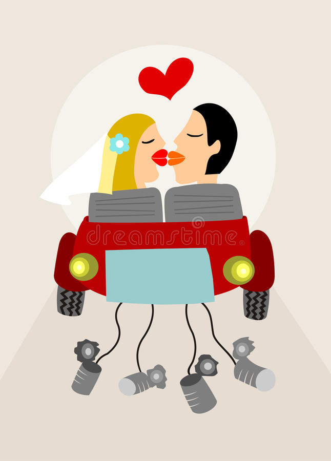 Download Just Married stock vector. Image of love, fifties, just - 10735695