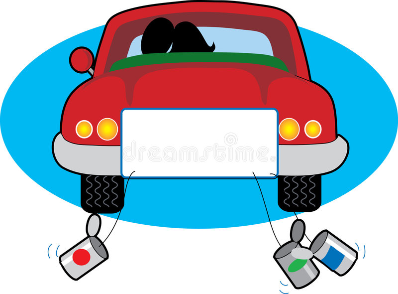 Just Married. Couple in car going on honeymoon royalty free illustration