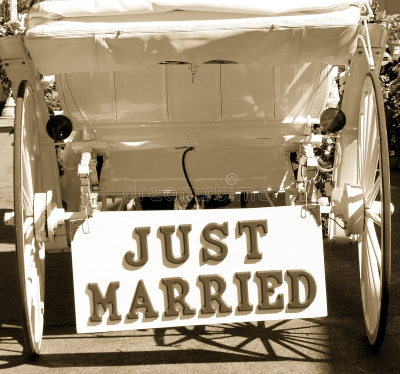 Just Married. The back of a horse carriage with a sign reading Just Married royalty free stock photos