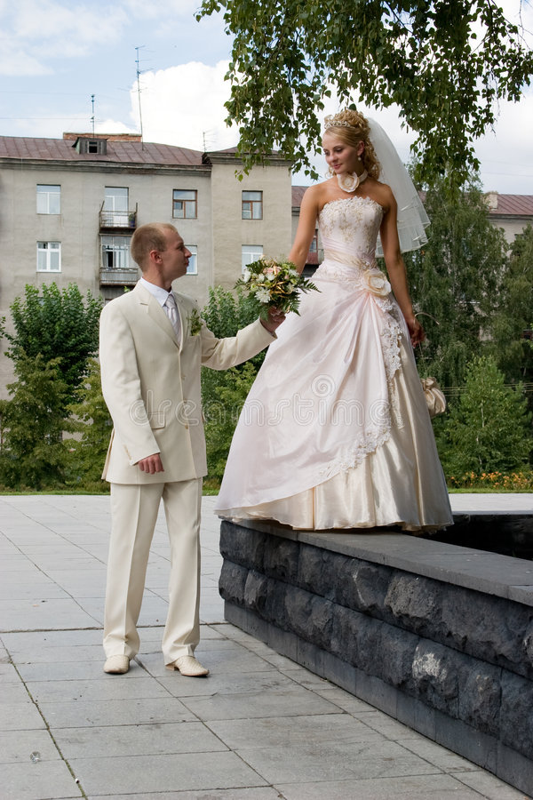 Just married. stock image