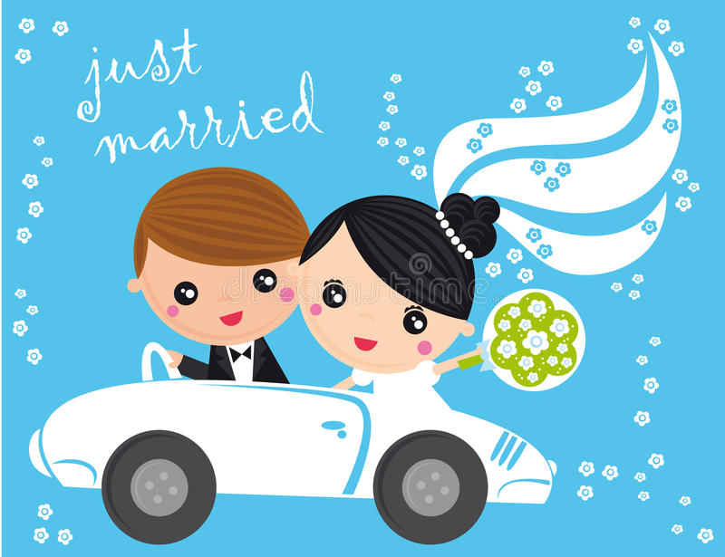 Just married. Illustration of just married couple in car on a blue background