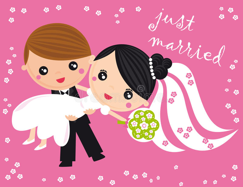 Just married. Illustration of just married couple on a pink background