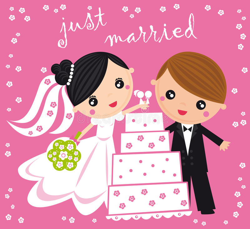 Just married. Illustration of just married couple iwith wedding cake on a pink background