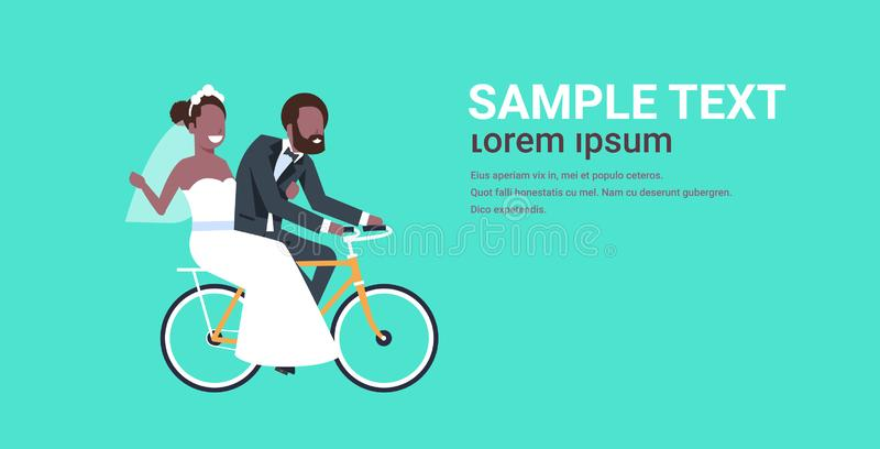Just married african american couple riding bicycle bride and groom cycling bike having fun wedding day concept copy royalty free illustration