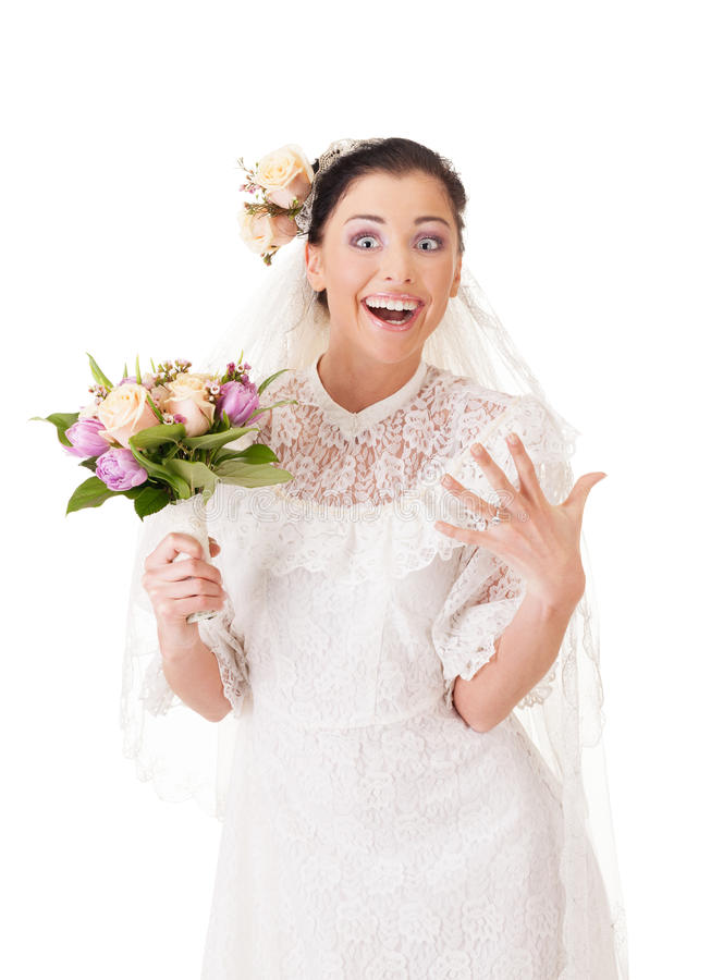 Just married. Bride is bragging with a wedding ring stock image