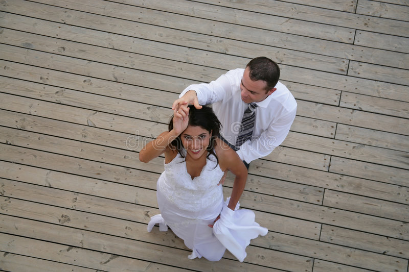 Just Married - bride and groom dancing. Their opening dance stock images
