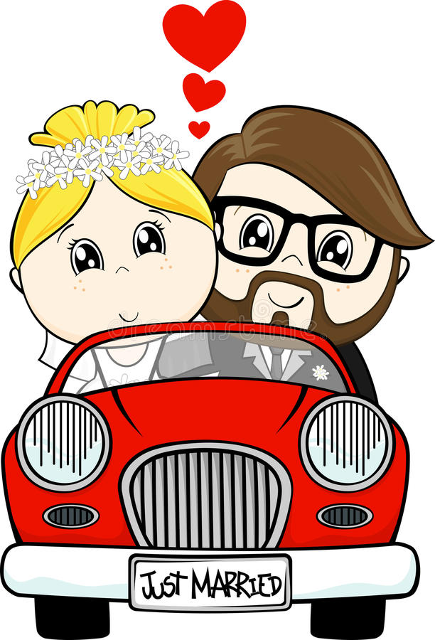 Just married bride and groom stock illustration