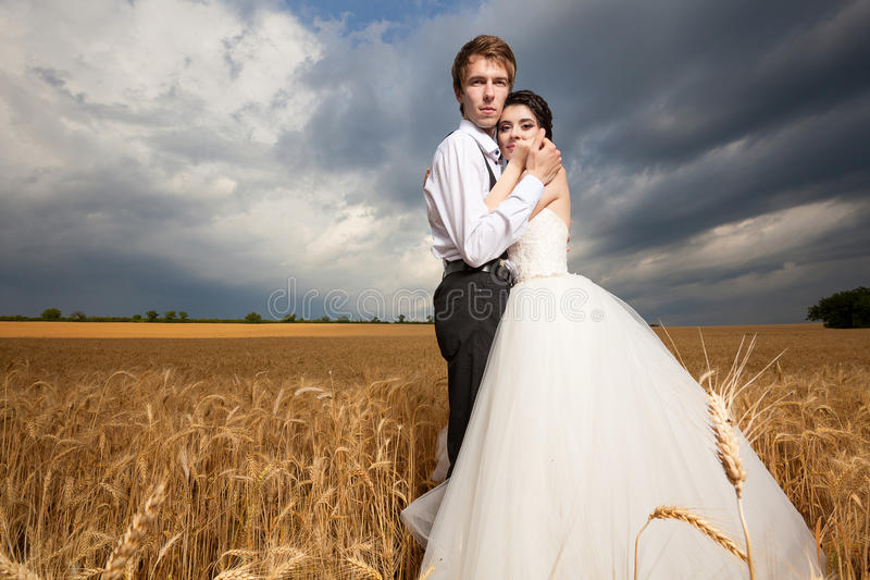 Just Married. Bride and groom in wheat field with dramamtic sky. Beautiful wedding set stock image