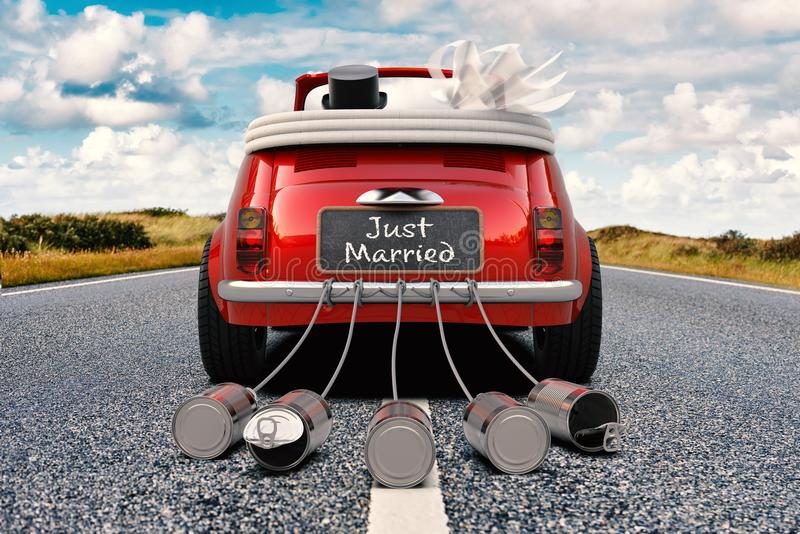 Just Married convertible on a road stock images