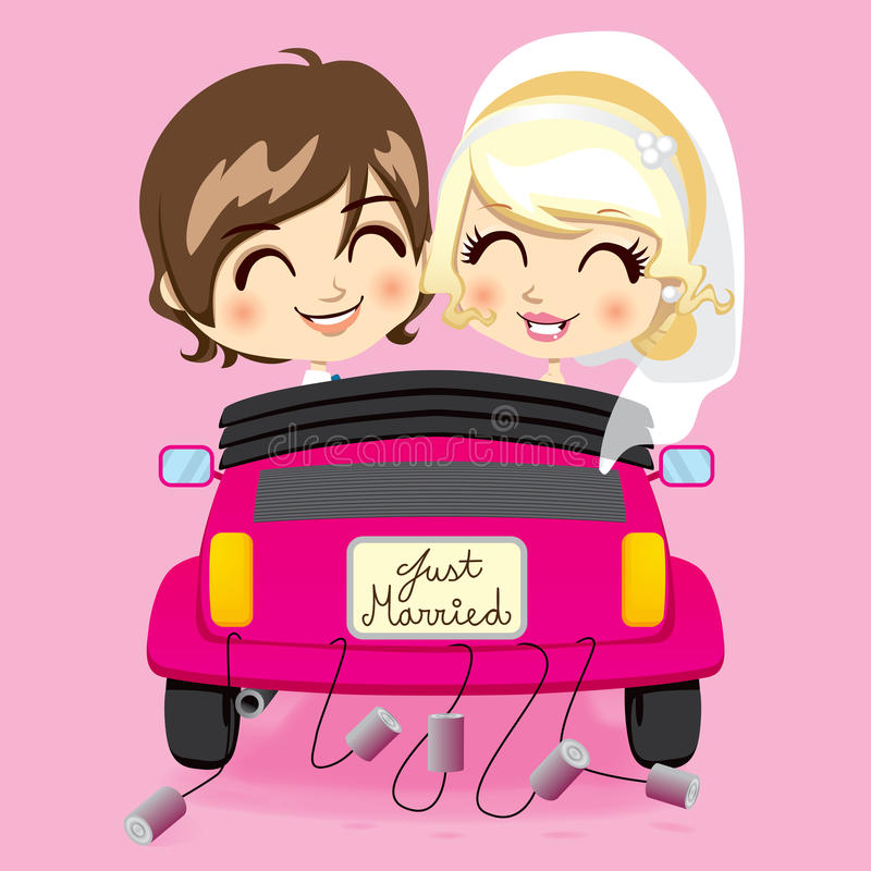 Just Married Couple. Groom and bride driving a pink automobile with a just married car plate and cans tied to bumper stock illustration