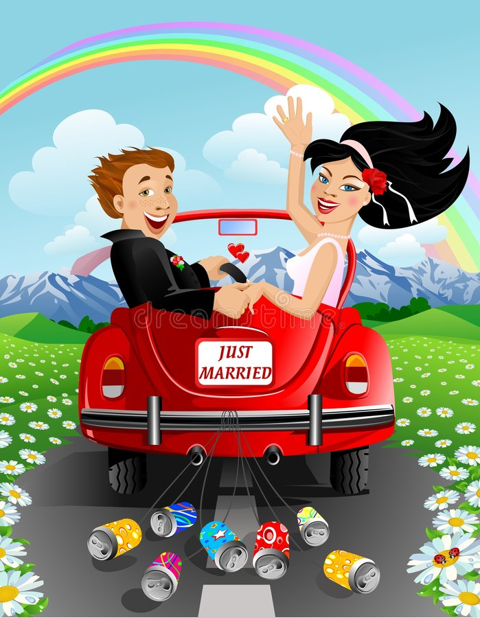 Free Just Married Couple Royalty Free Stock Photo - 3995115