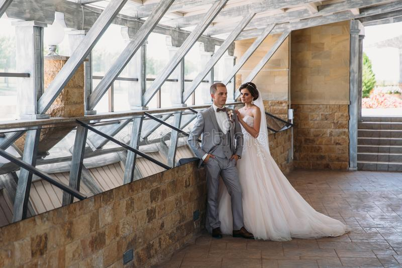 Just married couple of beautiful groom in a gray business suit and a bride in a luxurious white dress with a veil with. Amazing haircut. Newlyweds at wedding royalty free stock photos