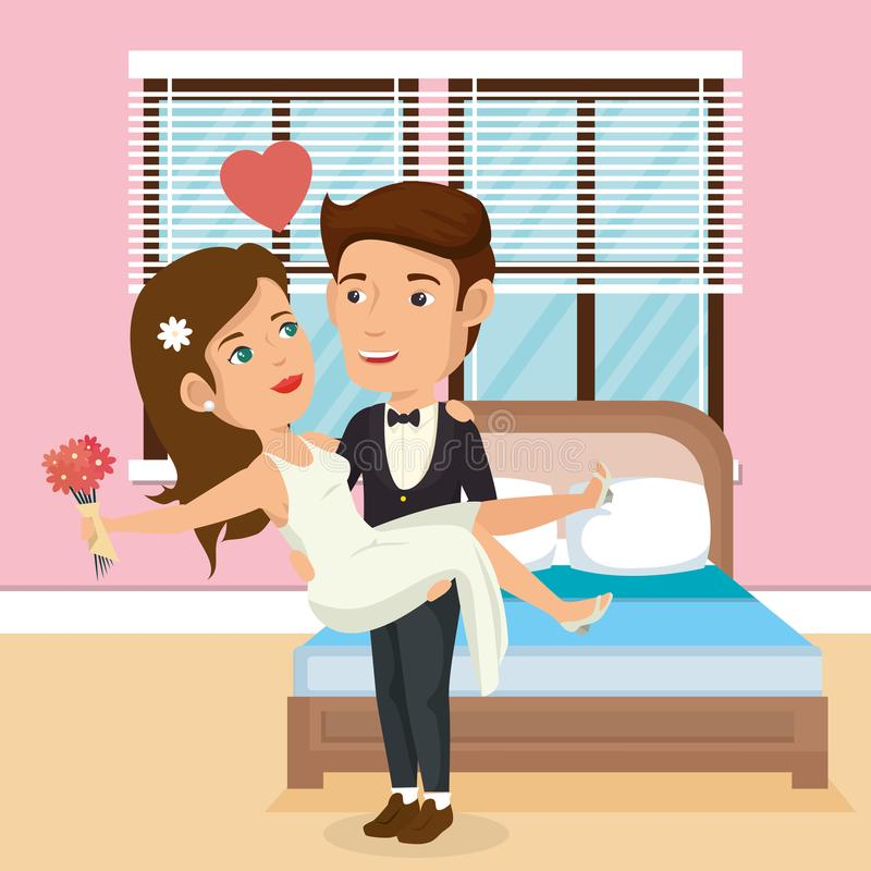 Just married couple in the bedroom vector illustration