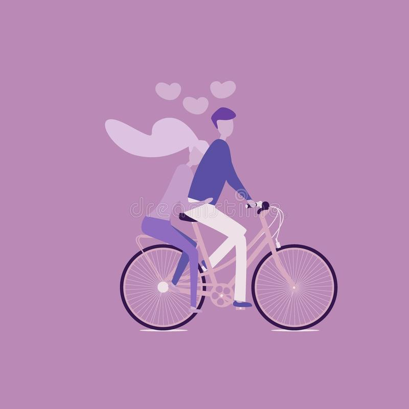 Just married couple bride and groom riding tandem bicycle stock illustration