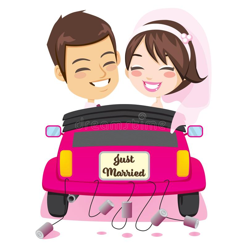 Just Married Couple Car. Back view of happy just married couple riding on pink car with cans attached enjoying wedding day vector illustration
