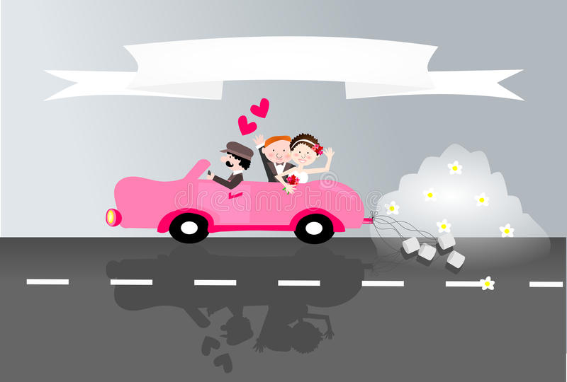 Just married couple in car royalty free illustration