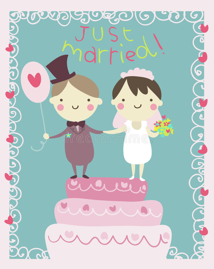 Just married couple cartoon vector illustration