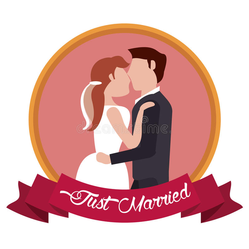 just married couple embraced label vector illustration