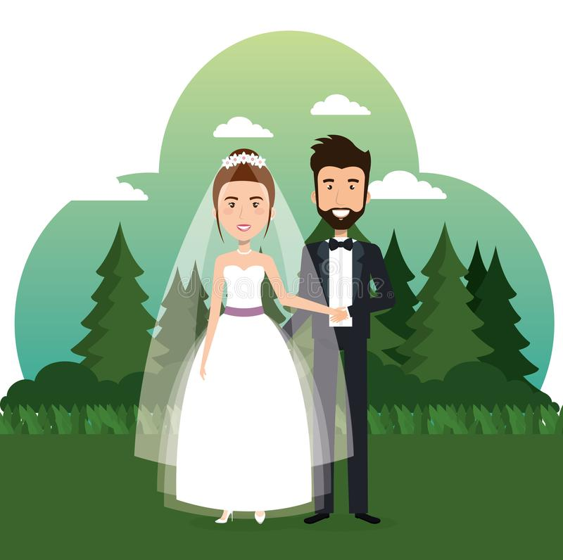 Just married couple in the field vector illustration