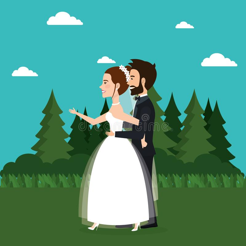 Just married couple in the field stock illustration