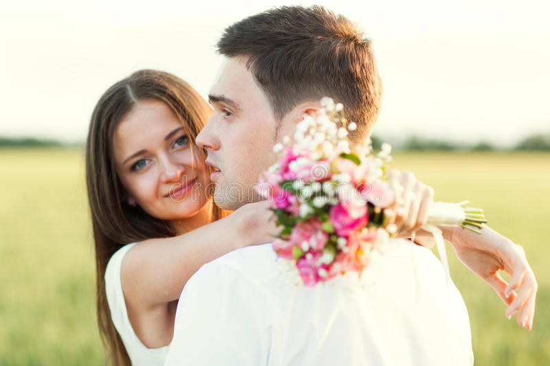 Just married couple stock images