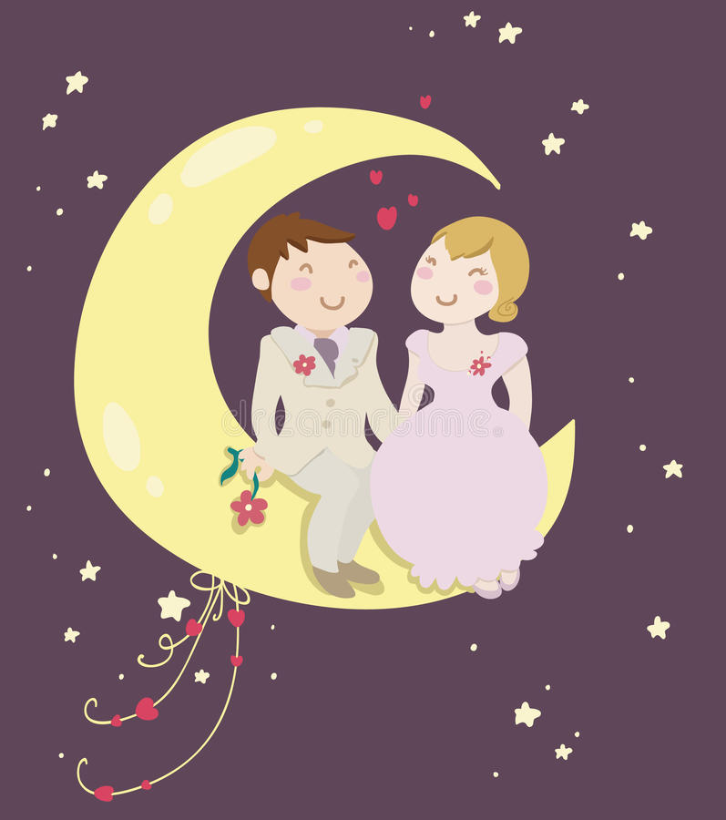 Just married couple on the moon royalty free illustration