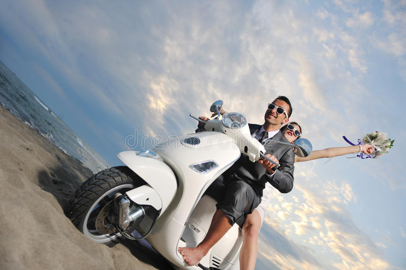 Download Just Married Couple Ride White Schooter Royalty Free Stock Image - Image: 19860616