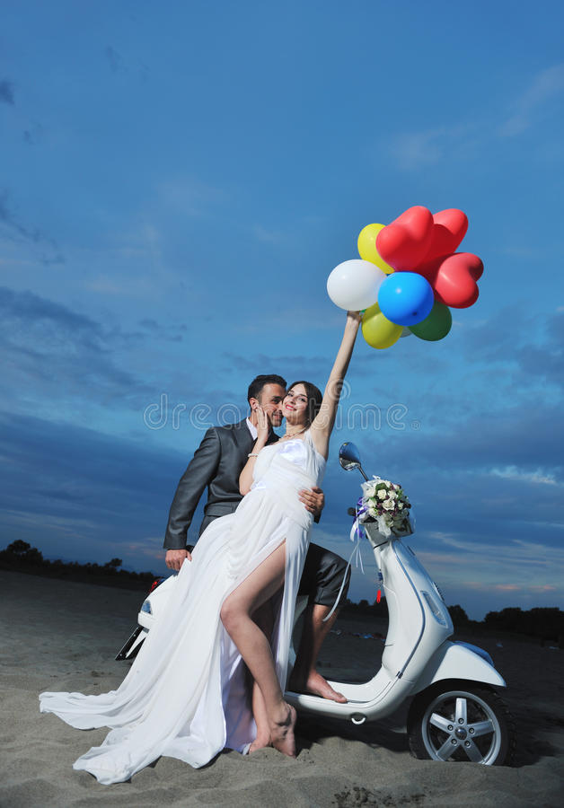 Download Just Married Couple Ride White Scooter Stock Photo - Image: 19862794