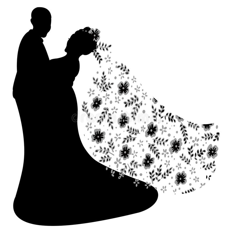 Just Married Couple Silhouette, Vector Royalty Free Stock
