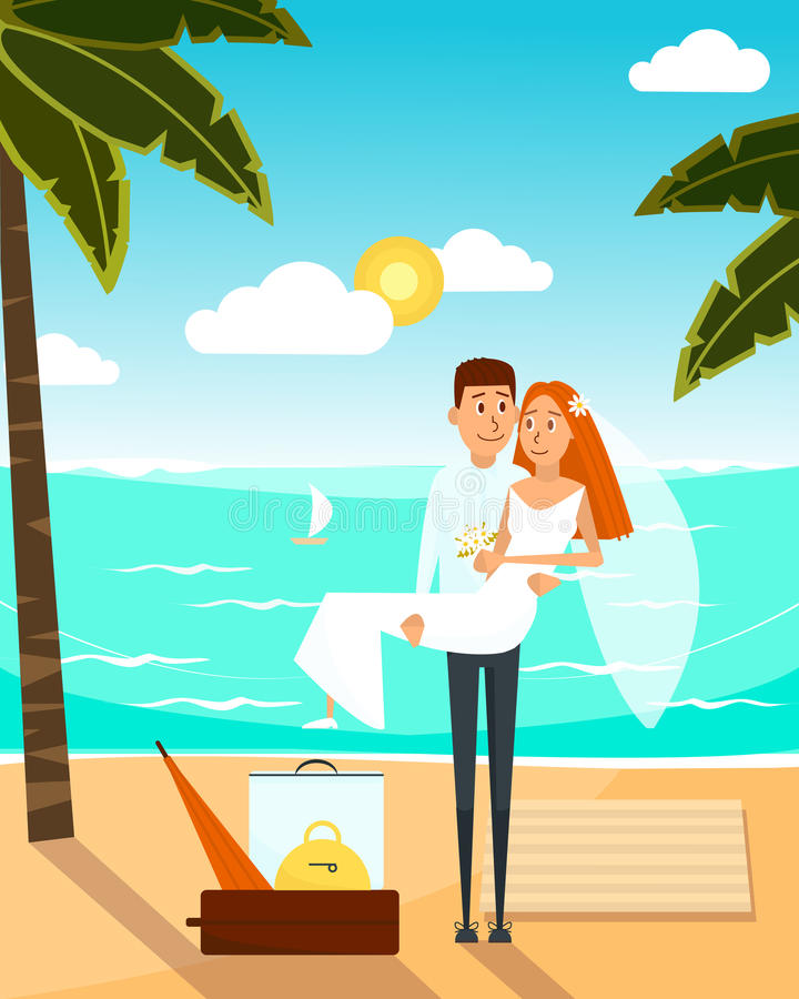 Just married couple went to the beach after wedding. Honeymoon vacation concept poster. Vector illustration with cartoon stock illustration