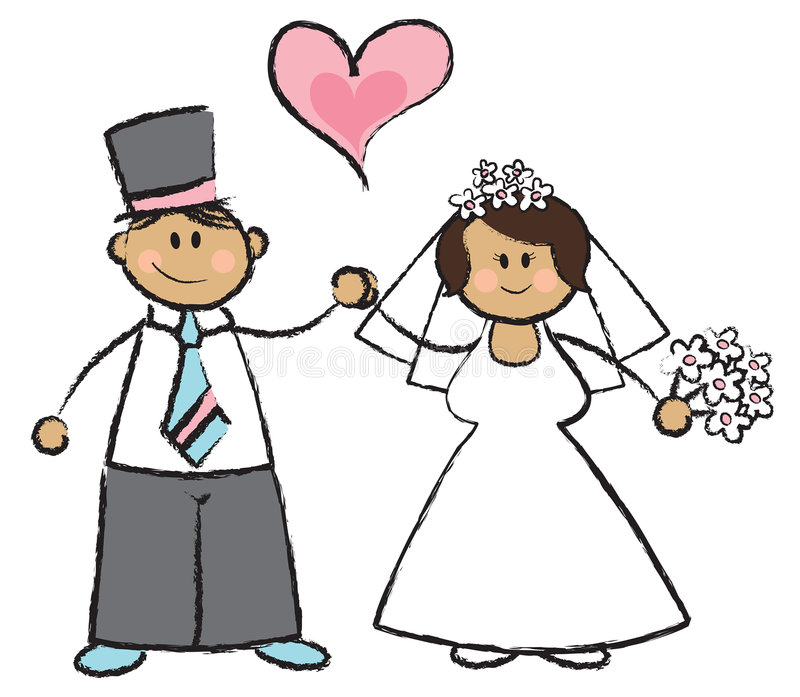 Just MARRIED! - dark haired couple stock illustration