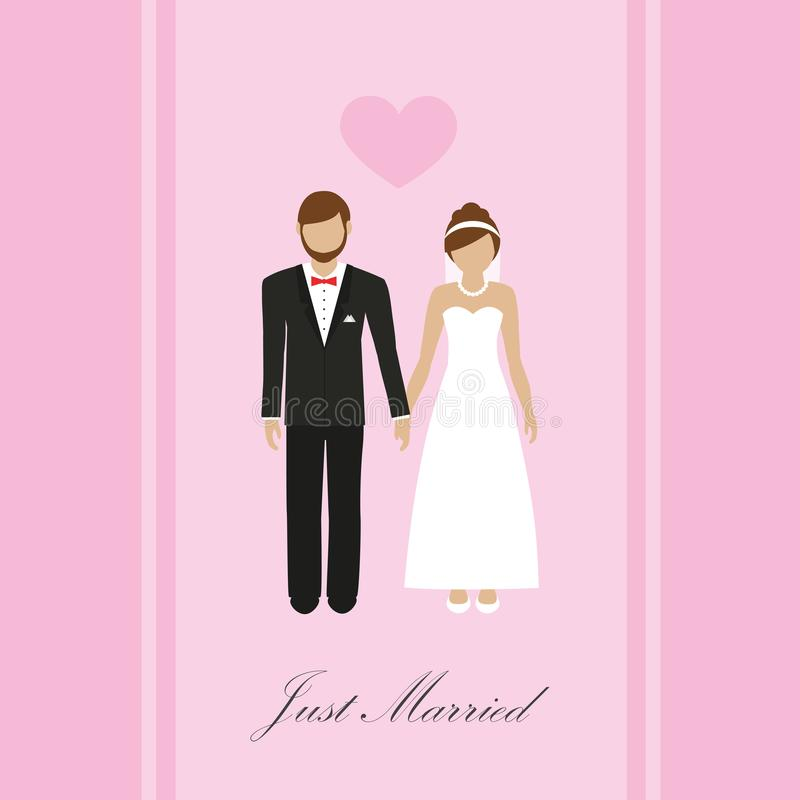 Just married greeting card with bride and groom. Vector illustration EPS10 vector illustration