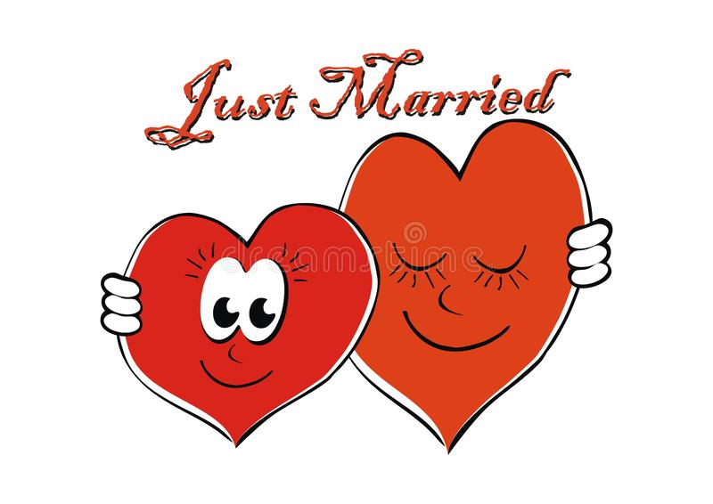 Just Married, greeting card for wedding, eps royalty free illustration