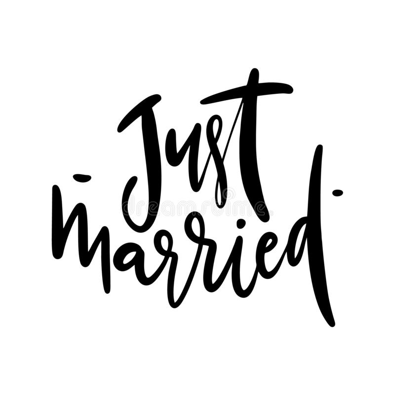 Just Married hand drawn vector lettering. Modern brush calligraphy. Isolated on white background stock illustration