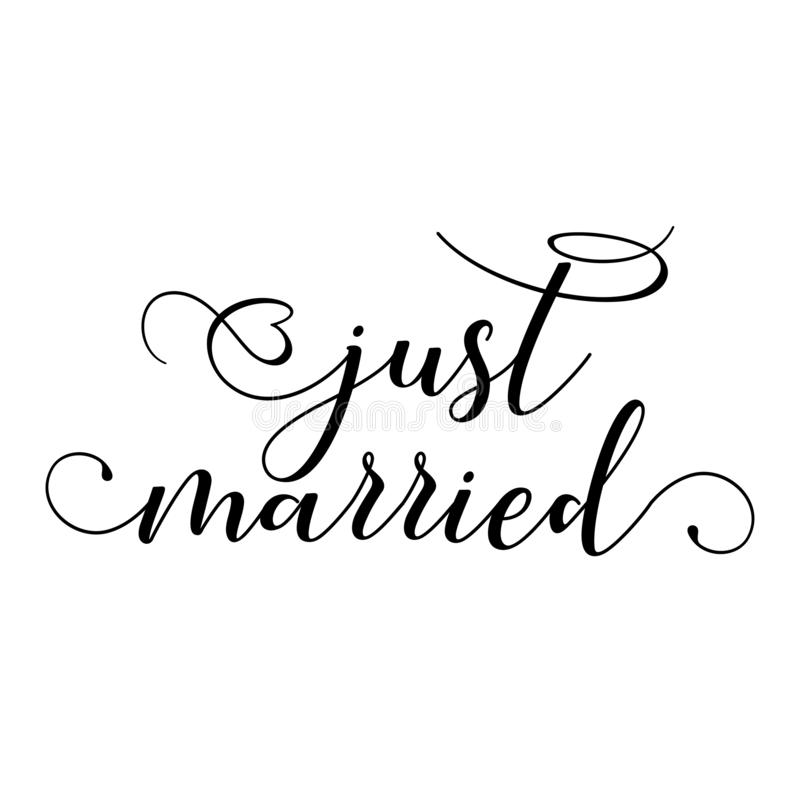 Free Just Married - Hand Lettering Typography Text Stock Photos - 140297343