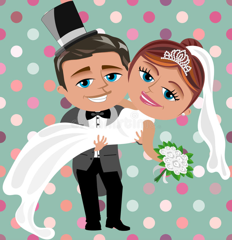 Just Married Happy Couple vector illustration