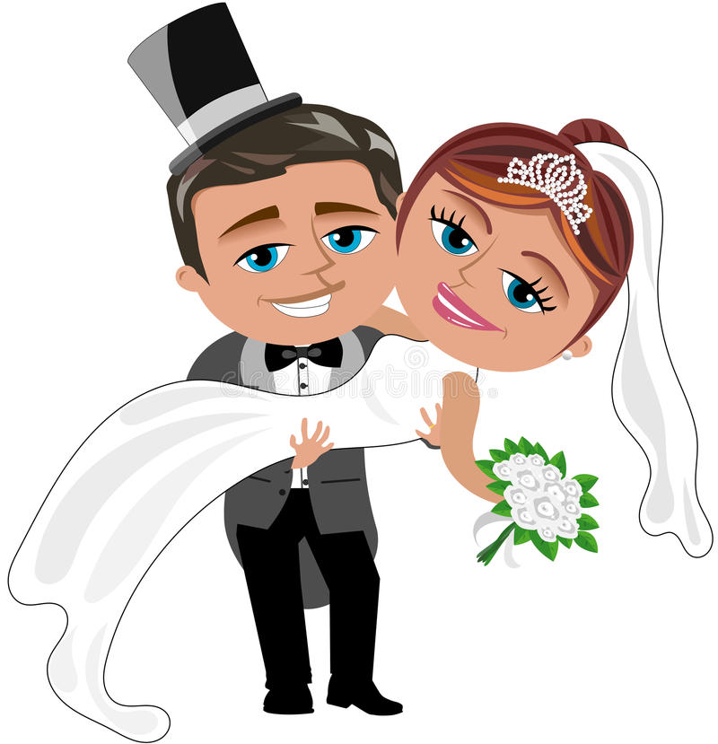 Just Married Happy Couple Isolated Stock Vector