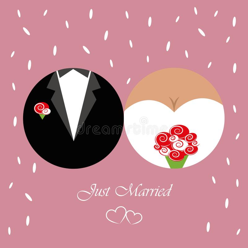 Just married inviting card for wedding with traditional rice royalty free illustration
