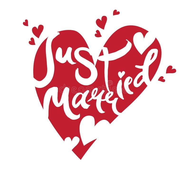 Just Married lettering vector illustration