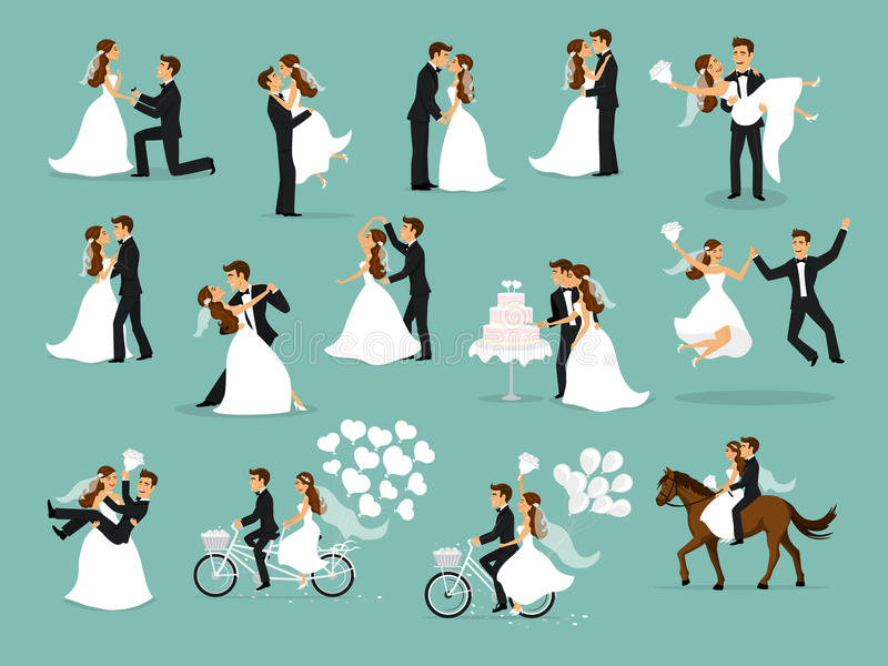 Just married , newlyweds, bride and groom set. Happy Couple celebrating marriage, dancing, kissing, hugging, holding each other in arms, cut cake, riding bike vector illustration