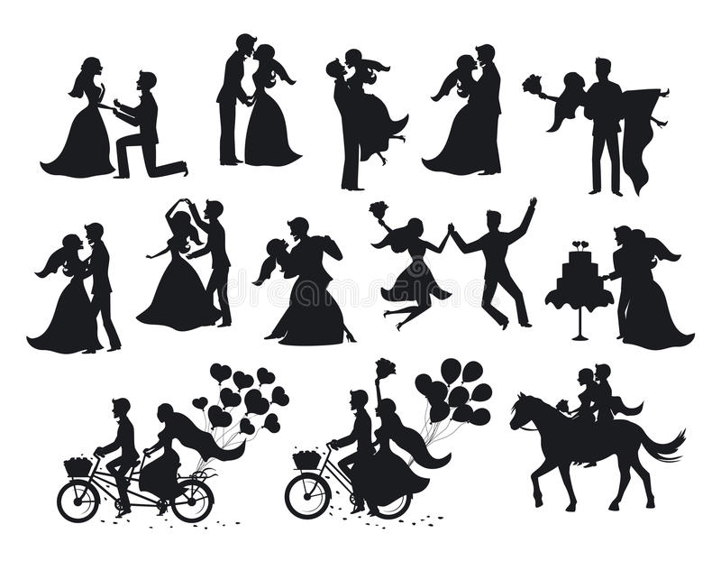 Just married , newlyweds, bride and groom silhouettes set. stock illustration